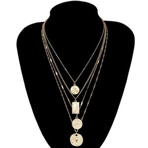 Gold Multilayered Round Pendant Charm Necklace